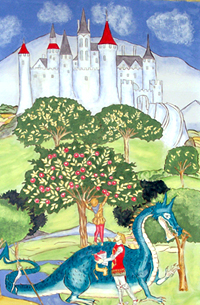 Castle Dragon Medieval Mural