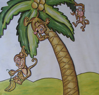 Monkeys on Palm Tree Mural